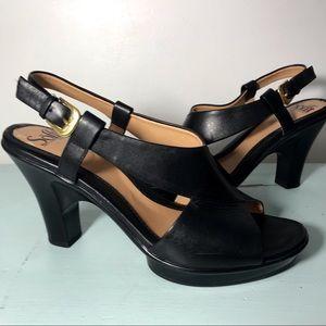 Sofft Black Leather High Heel Sandals Comfort Sz 8